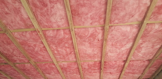 Batts installed in ceiling